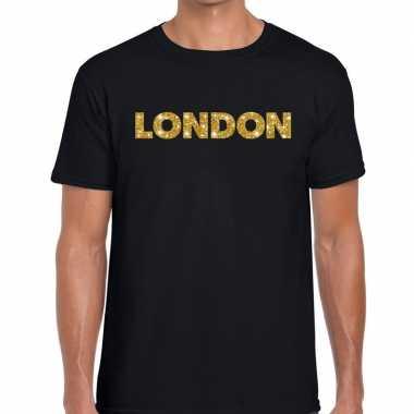 London goud letters fun t-shirt zwart voor heren