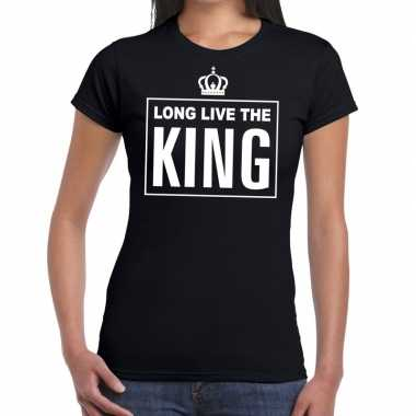 Long live the king engelse tekst shirt zwart dames