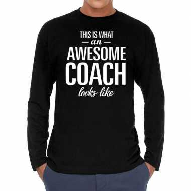 Long sleeve t-shirt zwart met awesome coach bedrukking voor heren