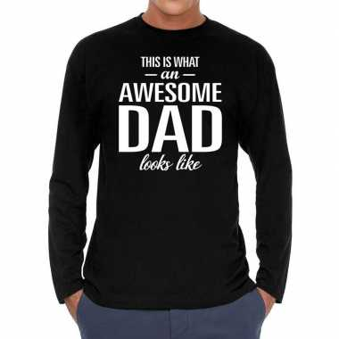 Long sleeve t-shirt zwart met awesome dad bedrukking voor heren