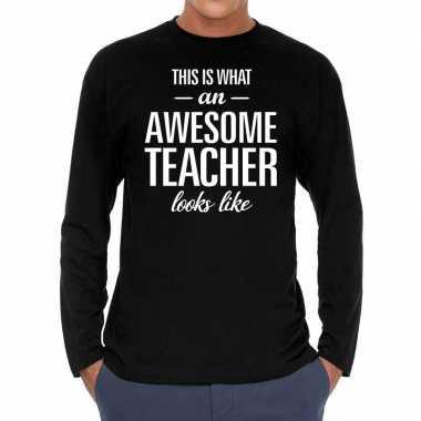 Long sleeve t-shirt zwart met awesome teacher bedrukking voor heren