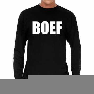 Long sleeve t-shirt zwart met boef bedrukking voor heren