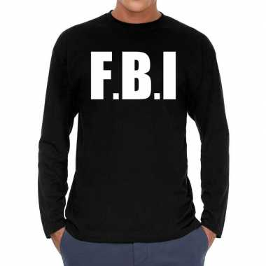 Long sleeve t-shirt zwart met f.b.i. bedrukking voor heren