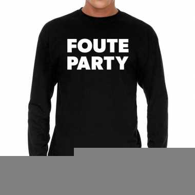 Long sleeve t-shirt zwart met foute party bedrukking voor heren