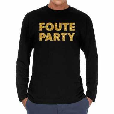 Long sleeve t-shirt zwart met foute party goud glitter bedrukking voo