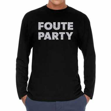 Long sleeve t-shirt zwart met foute party zilver glitter bedrukking v