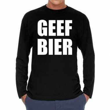 Long sleeve t-shirt zwart met geef bier bedrukking voor heren