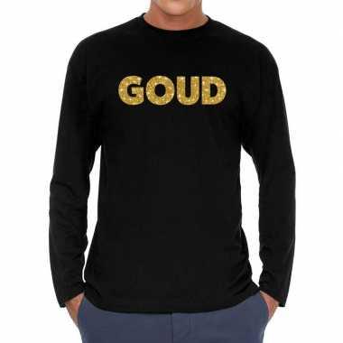 Long sleeve t-shirt zwart met goud glitter bedrukking voor heren