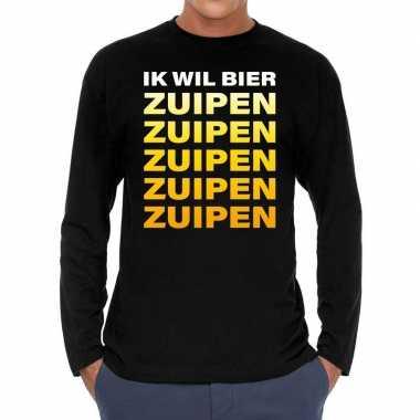 Long sleeve t-shirt zwart met ik wil bier zuipen zuipen zuipen bedruk