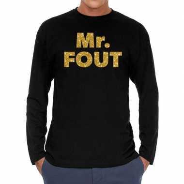 Long sleeve t-shirt zwart met mr. fout goud glitter bedrukking voor h