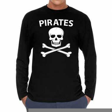 Long sleeve t-shirt zwart met pirates bedrukking voor heren