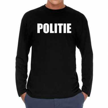 Long sleeve t-shirt zwart met politie bedrukking voor heren