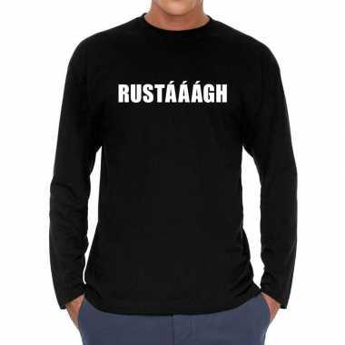 Long sleeve t-shirt zwart met rustaaagh bedrukking voor heren