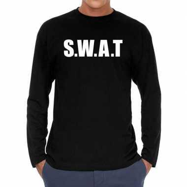 Long sleeve t-shirt zwart met s.w.a.t. bedrukking voor heren