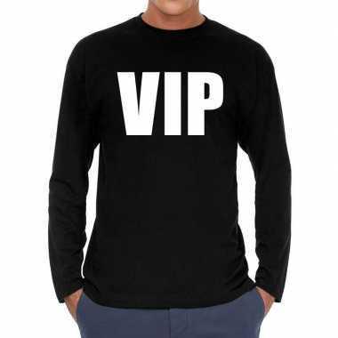 Long sleeve t-shirt zwart met vip bedrukking voor heren