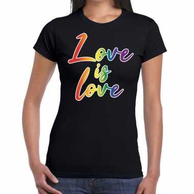 Love is love gaypride tekst/fun shirt zwart dames