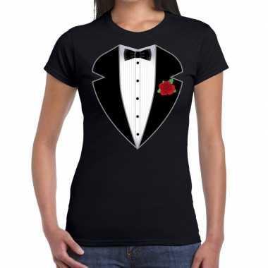 Maffiosi verkleedkleding t-shirt zwart voor dames