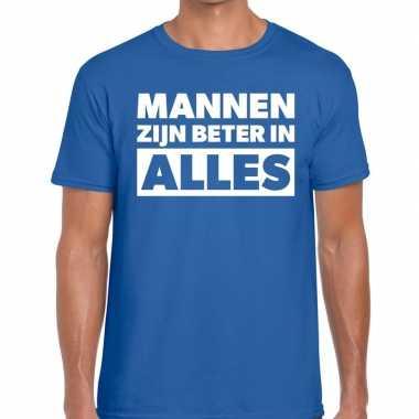 Mannen zijn beter in alles fun t-shirt blauw voor heren