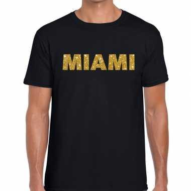 Miami gouden letters fun t-shirt zwart voor heren