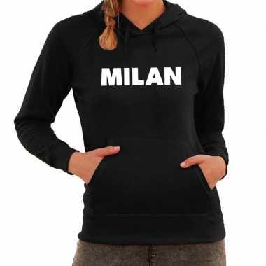 Milaan hooded sweater zwart met milan bedrukking voor dames