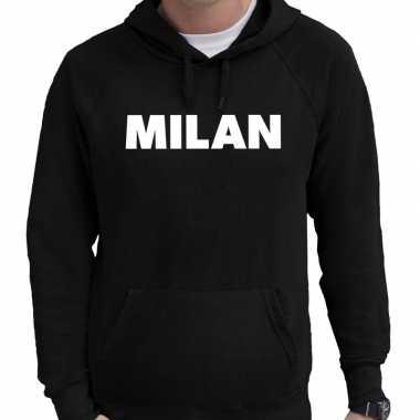 Milaan hooded sweater zwart met milan bedrukking voor heren