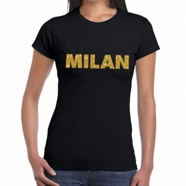 Milan gouden letters fun t-shirt zwart voor dames
