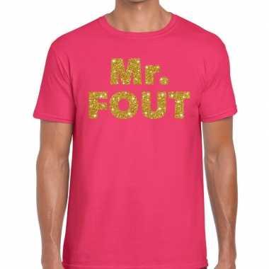 Mr. fout goud glitter tekst fun t-shirt roze voor heren