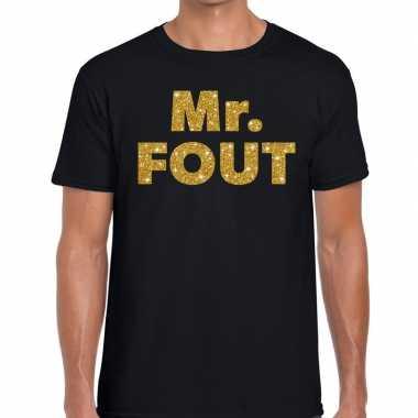 Mr. fout gouden letters fun t-shirt zwart voor heren