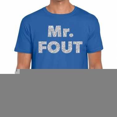 Mr. fout zilveren letters fun t-shirt blauw voor heren