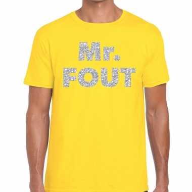 Mr. fout zilveren letters fun t-shirt geel voor heren