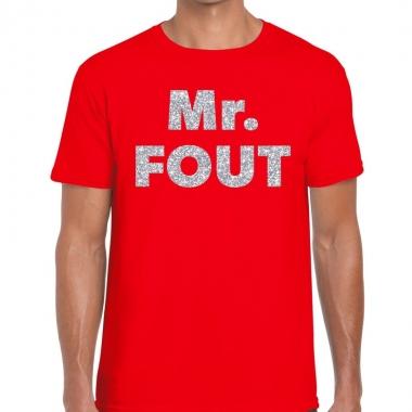 Mr. fout zilveren letters fun t-shirt rood voor heren