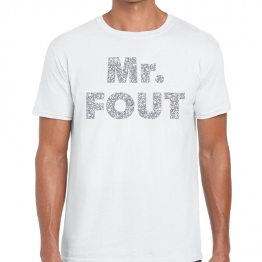 Mr. fout zilveren letters fun t-shirt wit voor heren