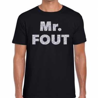 Mr. fout zilveren letters fun t-shirt zwart voor heren