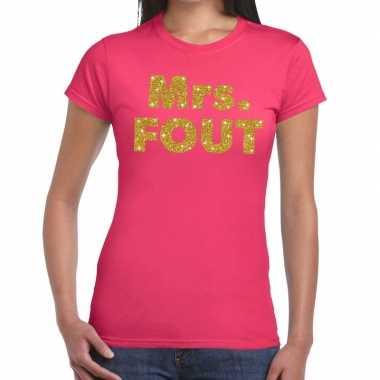 Mrs. fout fun t-shirt roze voor dames