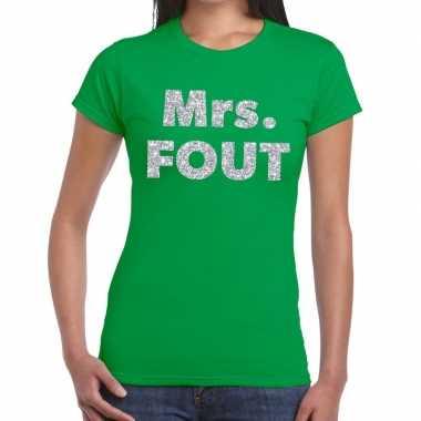 Mrs. fout zilveren letters fun t-shirt groen voor dames