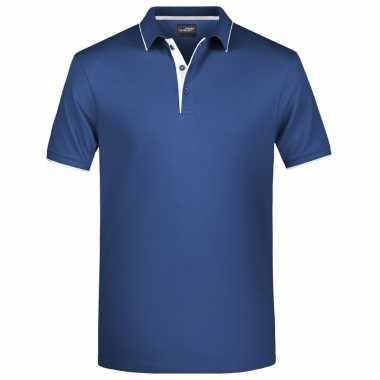 Navy/wit premium poloshirt golf pro voor heren