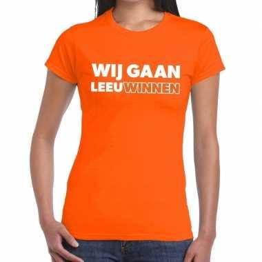 Nederlands elftal supporter shirt wij gaan leeuwinnen oranje voor dam