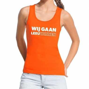 Nederlands elftal supporter tanktop / mouwloos shirt wij gaan leeuwin
