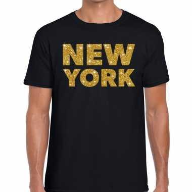 New york gouden letters fun t-shirt zwart voor heren
