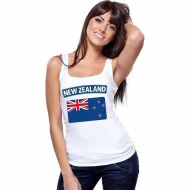 Nieuw zeeland vlag mouwloos shirt wit dames