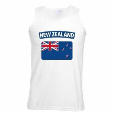 Nieuw zeeland vlag mouwloos shirt wit heren