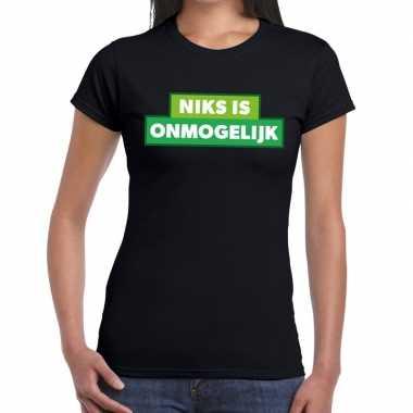 Niks is onmogelijk zwarte cross t-shirt zwart voor dames