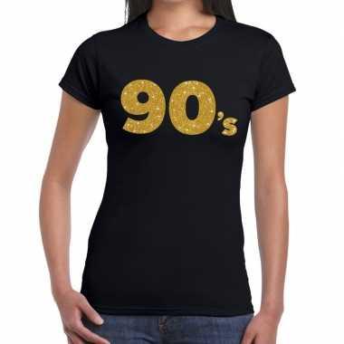 Ninetees goud fun t-shirt zwart voor dames