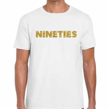 Nineties goud tekst fun t-shirt wit voor heren