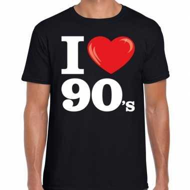 Nineties shirt met i love 90s bedrukking zwart voor heren