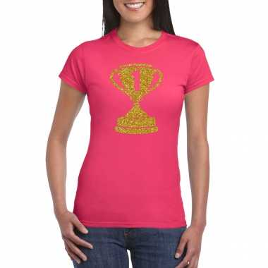 Nr.1 gouden winnaars beker t-shirt roze voor dames