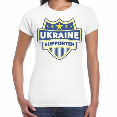 Oekraine / ukraine supporter t-shirt wit voor dames
