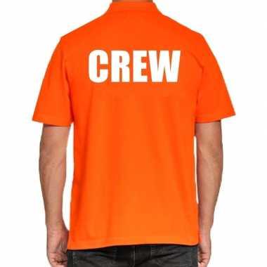 Oranje crew polo t-shirt voor heren