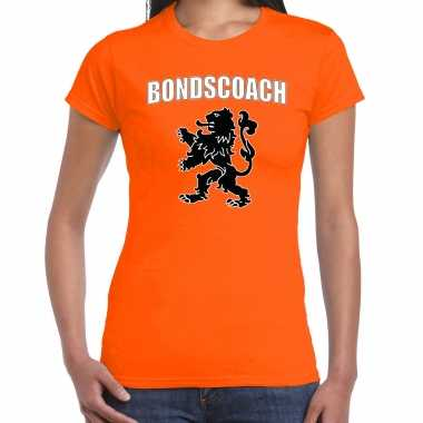 Oranje fan shirt / kleding bondscoach met oranje leeuw ek/ wk voor dames