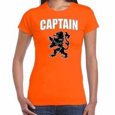 Oranje fan shirt / kleding captain met oranje leeuw ek/ wk voor dames